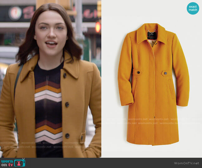 J. Crew New Lady Coat in Dark Amber  worn by Cara Bloom (Violett Beane) on God Friended Me