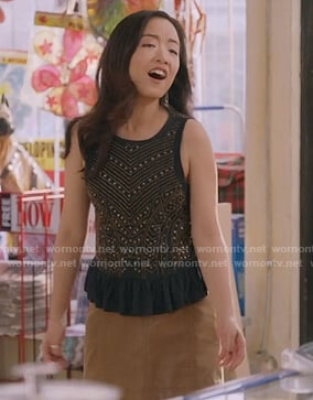 Janet's black embellished tank on Kims Convenience