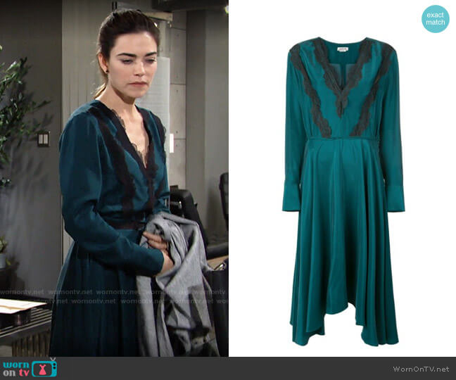 Jason Wu Lace Trim Midi Dress worn by Victoria Newman (Amelia Heinle) on The Young & the Restless
