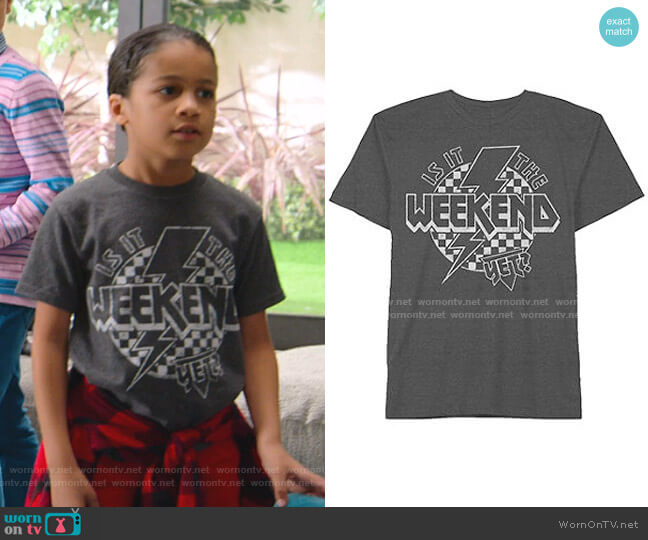 Is It The Weekend Yet Tee by JCPenny worn by Kam Barris (Ravi Cabot-Conyers) on BlackAF
