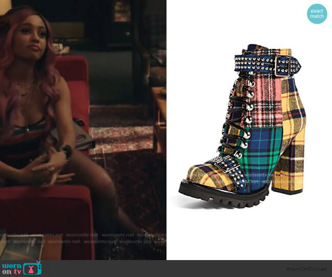 Lilith Block Heel Boots by Jeffrey Campbell worn by Toni Topaz (Vanessa Morgan) on Riverdale