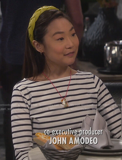 Jen's striped boatneck top on Last Man Standing