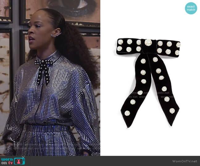 Perlita Velvet Bow Barrette by Jennifer Behr worn by Tiana Brown (Serayah McNeill) on Empire