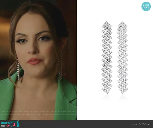 Pixie Crystal Drop Earrings by Jennifer Behr worn by Fallon Carrington (Elizabeth Gillies) on Dynasty