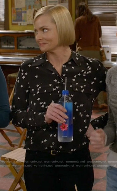 Jill's black star print blouse on Mom