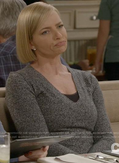 Jill's grey v-neck sweater on Mom