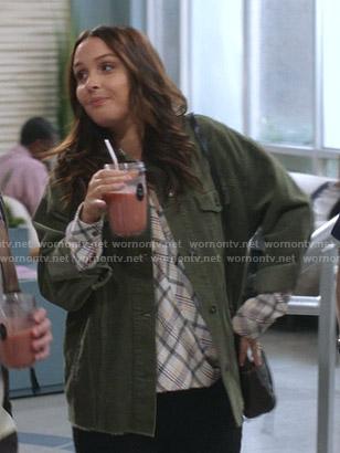 Jo's plaid blouse and green corduroy jacket on Greys Anatomy