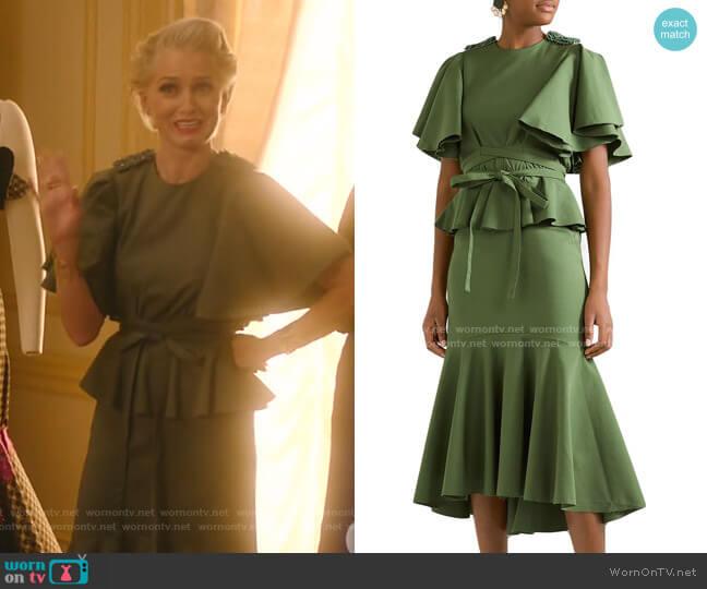 Follow The Drums Embellished Peplum Midi Dress by Johanna Ortiz worn by  Gloria Grandbilt (Katherine LaNasa) on Katy Keene