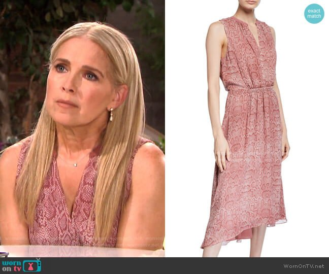 Hilarie Sleeveless Snake-Print Midi Dress by Joie worn by Jennifer Horton (Melissa Reeves) on Days of our Lives