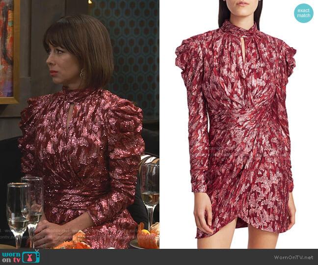 Metallic Jacquard Mockneck Dress by Jonathan Simkhai worn by Elizabeth (Natasha Leggero) on Broke