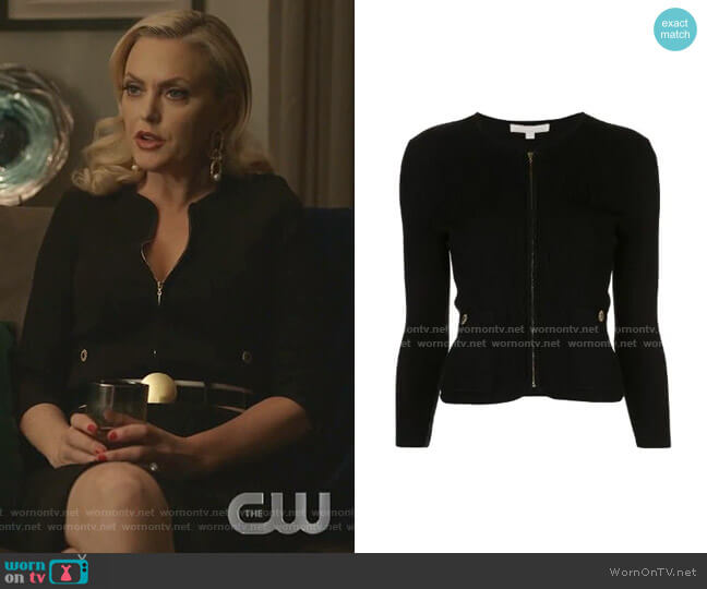 Ribbed Fitted Cardigan by Jonathan Simkhai worn by Alexis Carrington (Elaine Hendrix) on Dynasty