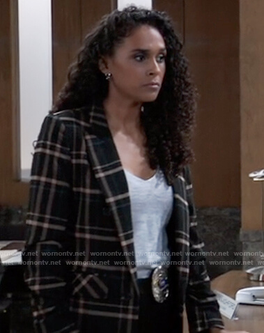 Jordan's black check blazer on General Hospital