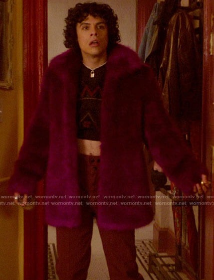 Jorje's magenta fur coat on Katy Keene