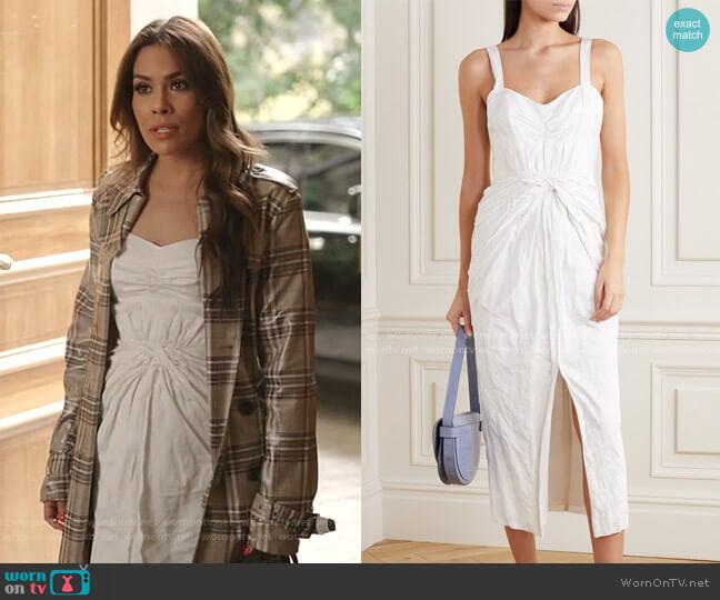 Knotted Sateen Midi Dress by Jason Wu worn by Cristal Jennings (Daniella Alonso) on Dynasty