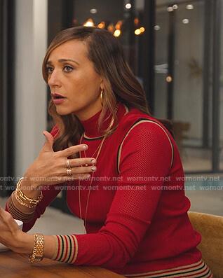 Joya's red mesh-sleeve sweater on BlackAF