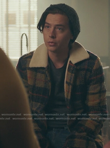 Jughead's yellow plaid shearling jacket on Riverdale