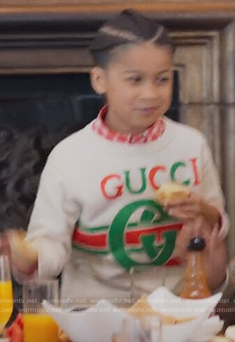 Kam's white Gucci logo sweatshirt on BlackAF