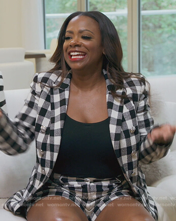 Kandi's check blazer and shorts on The Real Housewives of Atlanta