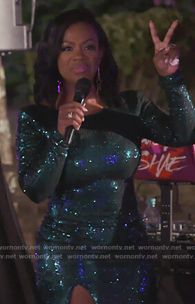 Kandi's green sequined midi dress on The Real Housewives of Atlanta