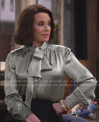 Karen's pale green tie neck satin blouse on Will and Grace