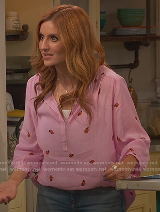 Chelsea's pink ladybug print top on Ravens Home