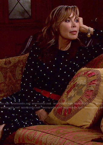 Kate's black floral midi dress on Days of our Lives