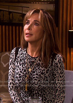 Kate's grey leopard print dress on Days of our Lives