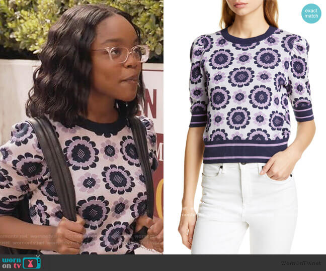 Geo Floral Crop Sweater by Kate Spade worn by Diane Johnson (Marsai Martin) on Blackish