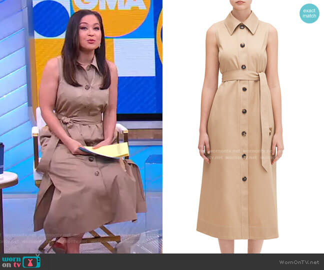 Sleeveless Trench Shirtdress by Kate Spade worn by Eva Pilgrim on GMA