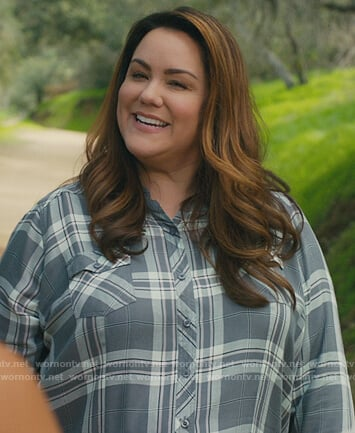 Katie's gray plaid button down blouse on American Housewife