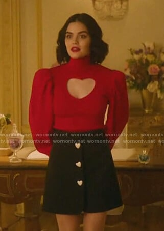 Katy's red cutout sweater and black skirt on Katy Keene