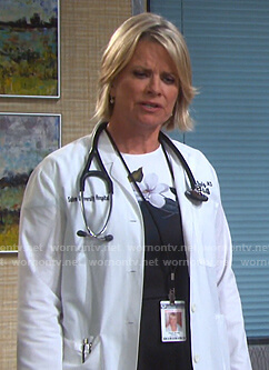 Kayla's black and white floral dress on Days of our Lives