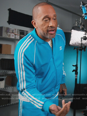 Kenya's turquoise Adidas track jacket and pants on BlackAF