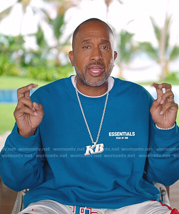 Kenya's blue Essentials print sweatshirt on BlackAF