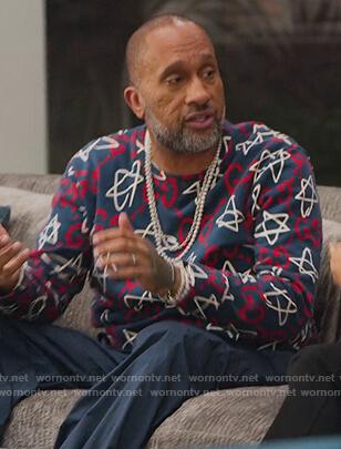 Kenya's blue Gucci logo sweatshirt on BlackAF