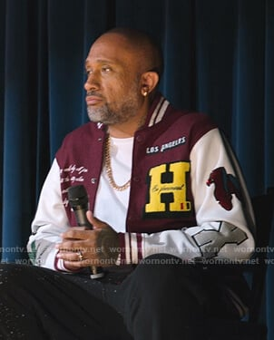 Kenya's maroon embroidered varsity jacket on BlackAF