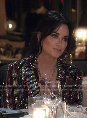 Kyle's sequin striped blazer on The Real Housewives of Beverly Hills