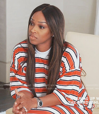Khadijah's striped t-shirt dress on Keeping Up with the Kardashians
