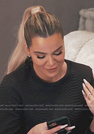 Khloe's black textured sweatshirt on Keeping Up with the Kardashians