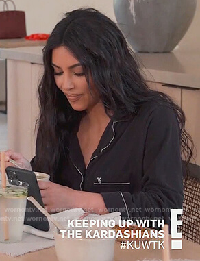 Kim's black Victoria Secret pajamas on Keeping Up with the Kardashians