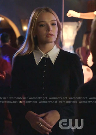 Kirby's black embellished contrast collar dress on Dynasty