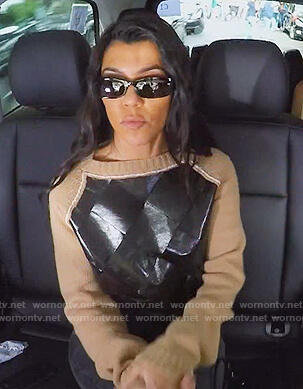 Kourtney's leather front sweater on Keeping Up with the Kardashians