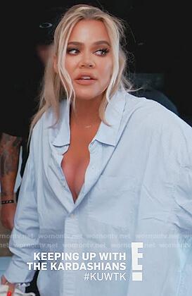 Khloe's white stripe oversized shirt on Keeping Up with the Kardashians