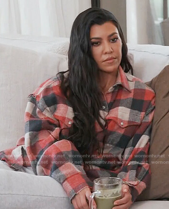Kourtney's red check oversized shirt on Keeping Up with the Kardashians