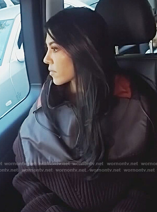 Kourtney's burgundy leather and wool hooded sweater on Keeping Up with the Kardashians