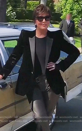 Kris's black velvet blazer on Keeping Up with the Kardashians