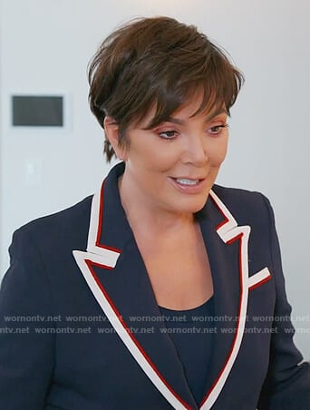 Kris's navy contrast collar blazer on Keeping Up with the Kardashians
