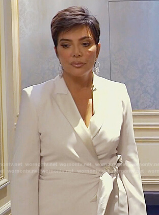 Kris's white tie waist blazer on Keeping Up with the Kardashians
