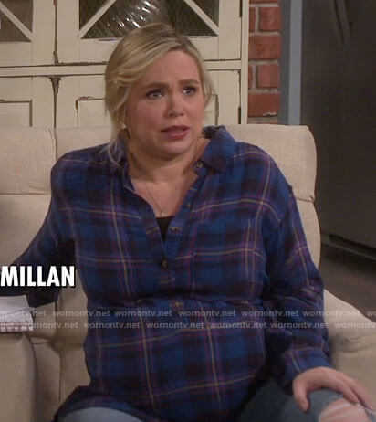 Kristin's blue plaid tunic top on Last Man Standing