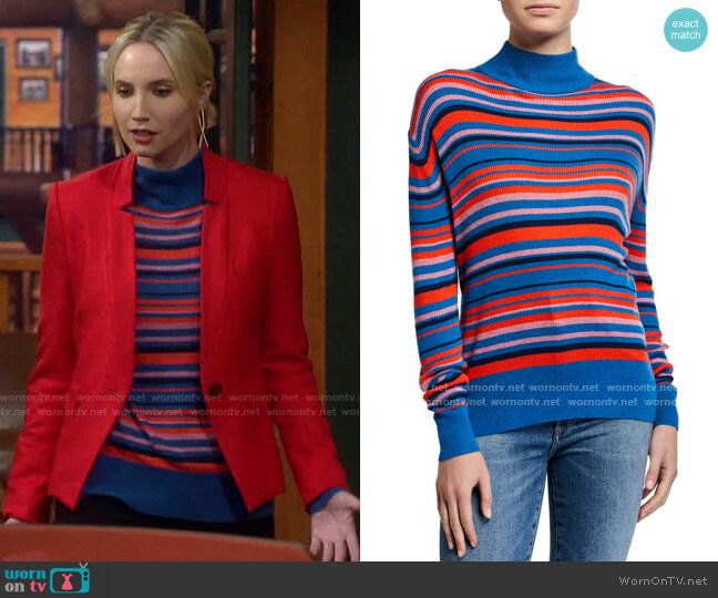 Kule The Marlene Striped Turtleneck Sweater worn by Mandy Baxter (Molly McCook) on Last Man Standing